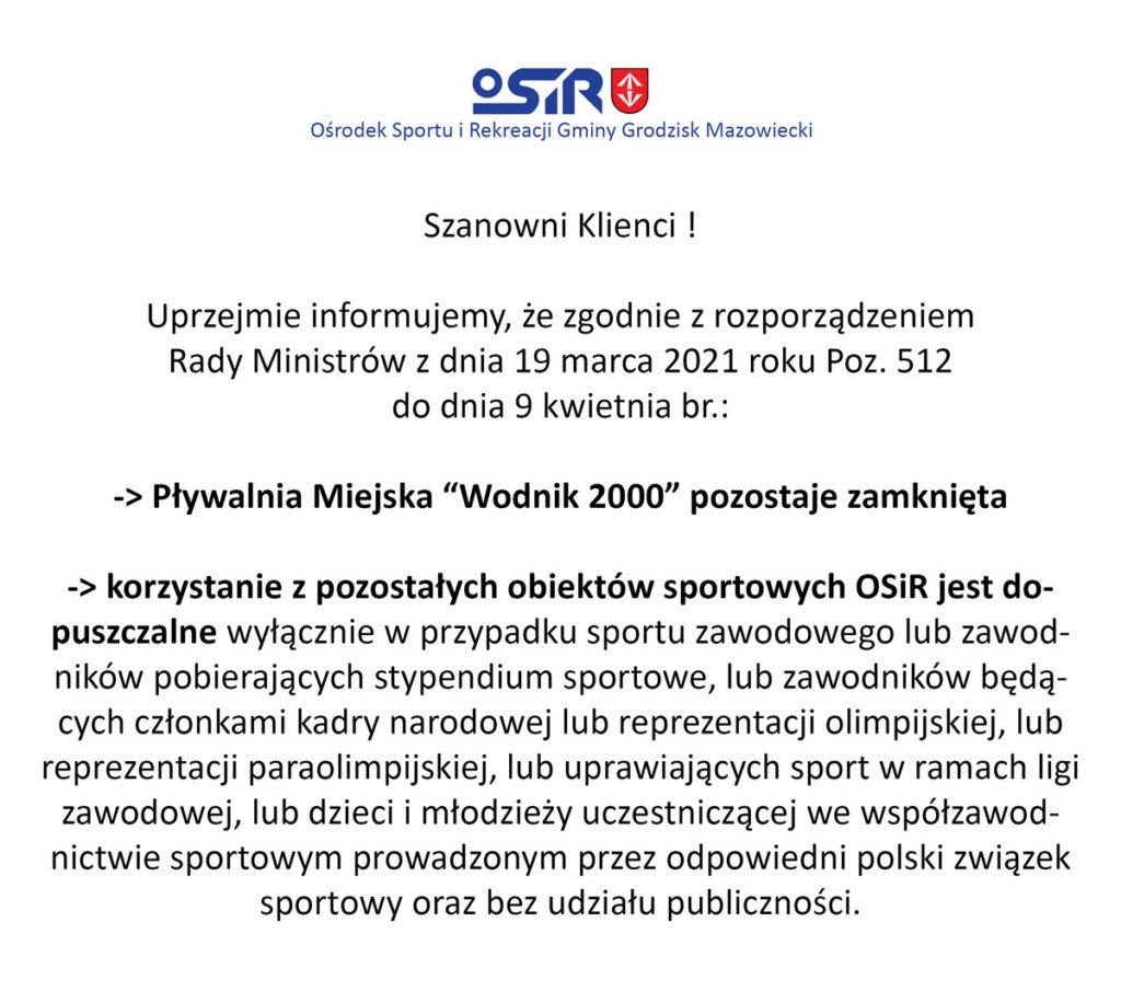 """Pływalnia Miejska """"Wodnik 2000"""" pozostaje zamknięta do dnia 9 kwietnia"""