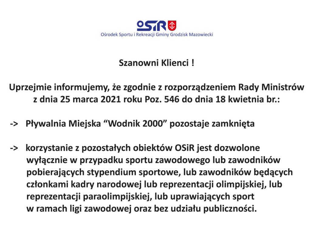 """Pływalnia Miejska """"Wodnik 2000"""" pozostaje zamknięta do dnia 18 kwietnia"""
