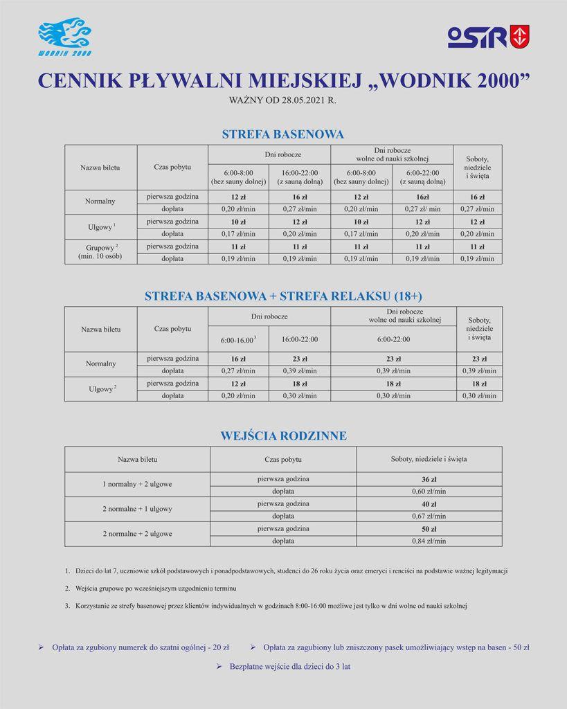 """Cennik Pływalnia Miejska """"Wodnik2000"""" Grodzisk Mazowiecki"""