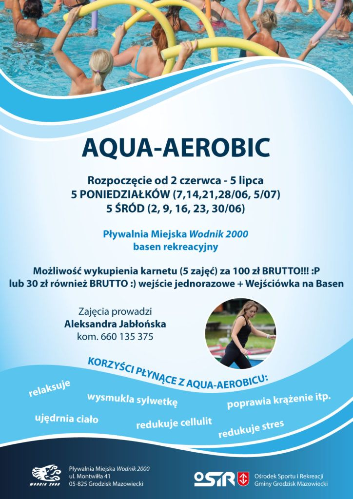 AQUA AEROBIC rozpoczęcie 2 czerwca - 5 lipca 2021 r.