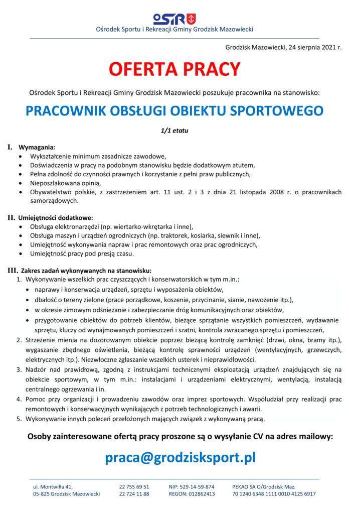 Ogłoszenie pracownik obslugi obiektu sportowego Stadion - Ośrodek Sportu i Rekreacji Gminy Grodzisk Mazowiecki