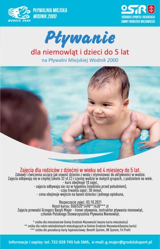 """Nauki pływania dla niemowląt - Pływalnia Miejska """"Wodnik 2000"""" Ośrodek Sportu i Rekreacji Gminy Grodzisk Mazowiecki"""