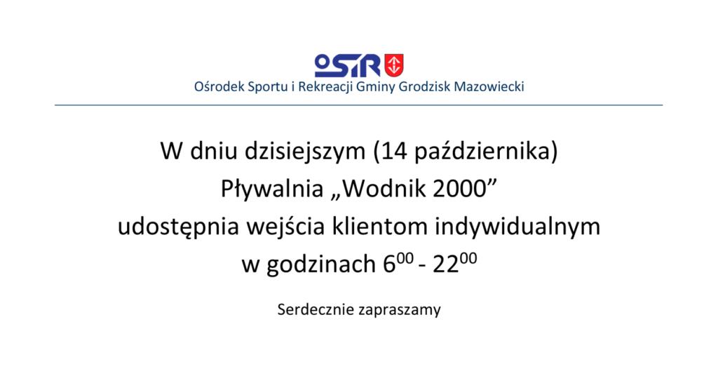 """Informacja Pływalnia Miejska """"Wodnik 2000"""" - OSiR Grodzisk Mazowiecki"""