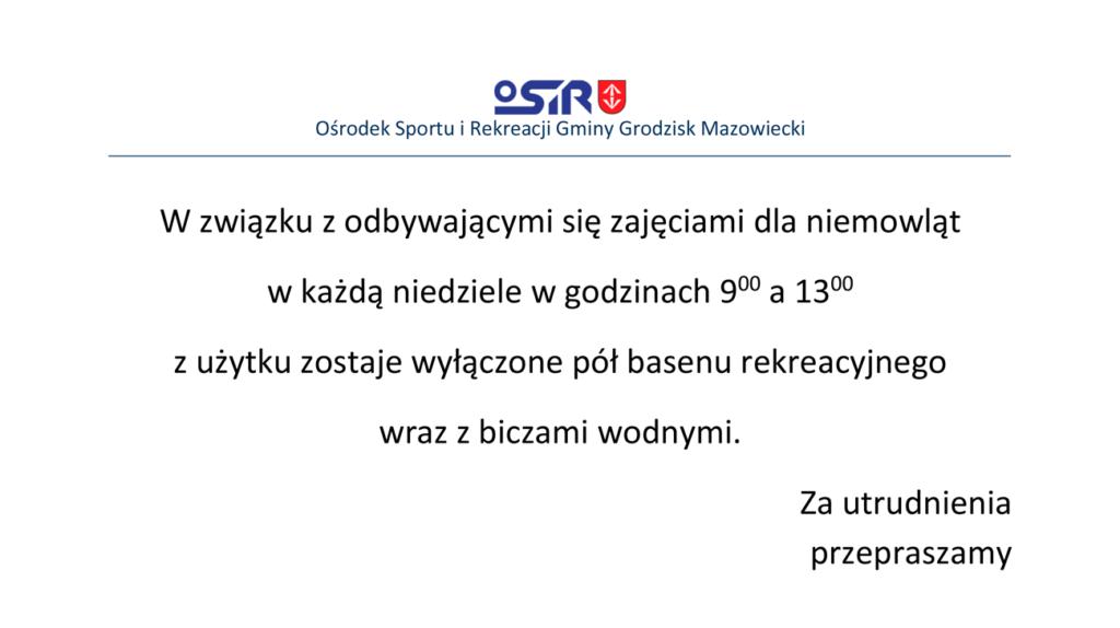 """Informacja październik 2021 - Pływalnia Miejska """"Wodnik 2000"""" OSiR Grodzisk Mazowiecki"""